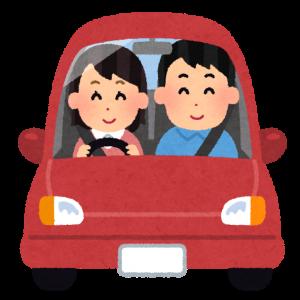 女性が運転する車でドライブするイラスト