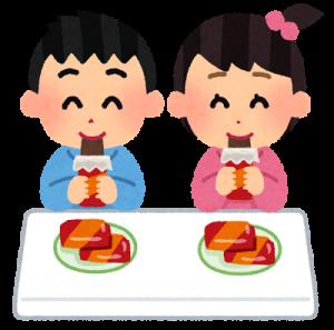 おやつを食べる子どものイラスト