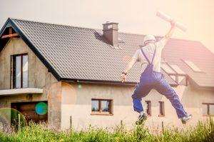 飛び跳ねる建築関係者