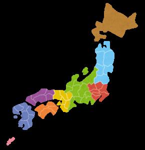 地域別に塗られた日本列島のイラスト